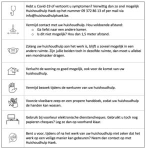 Coronarichtlijnen Huishoudhulp Haek